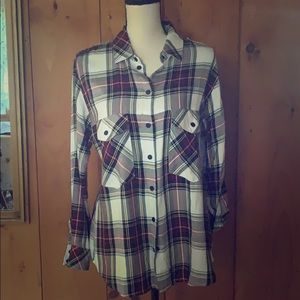 Tops - Plaid button up oversized shirt